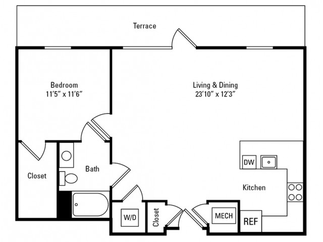 1 Bedroom - 1 Bathroom