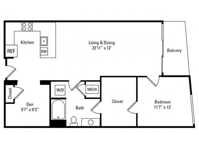 1 Bedroom - 1 Bathroom with Den