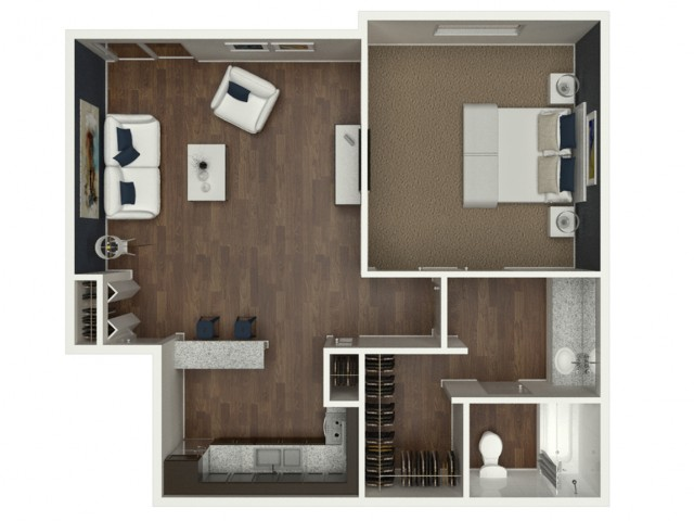 1 Bedroom | 1 Bath 740 Sq Ft