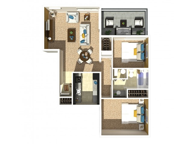 2 Bedroom 1 Bath B