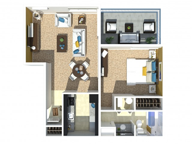 1 Bedroom 1 Bath D
