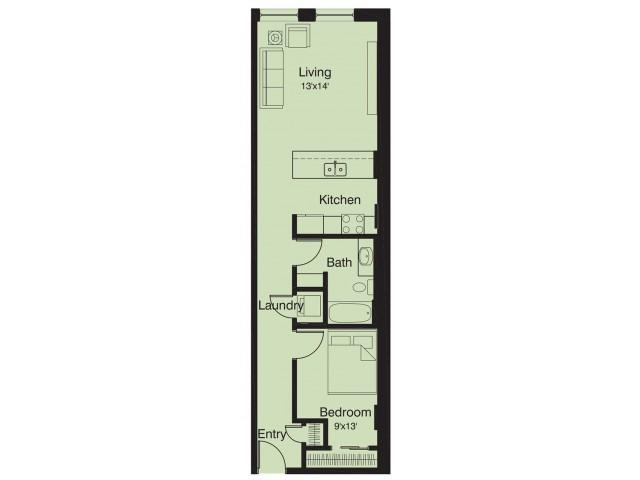 1 bed/ 1 bath floor plan