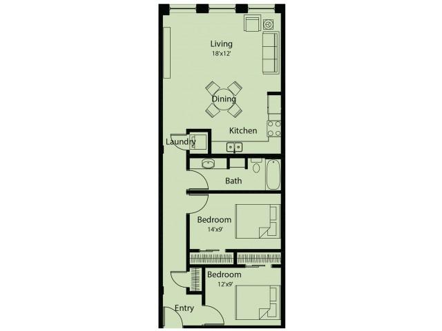 2 bed/ 1 bath floor plan