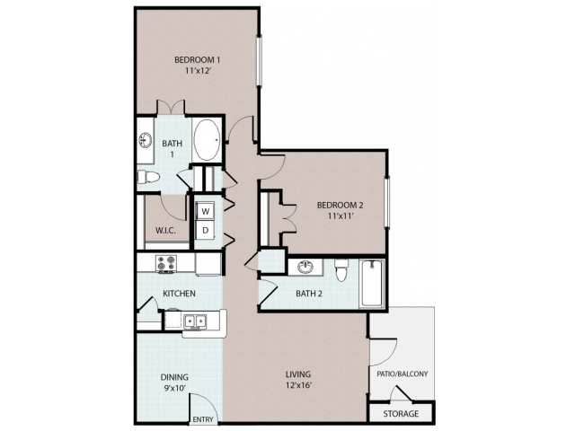 2 Bedroom/ 2 Bath