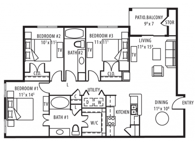 3 Bedroom/ 2 Bath