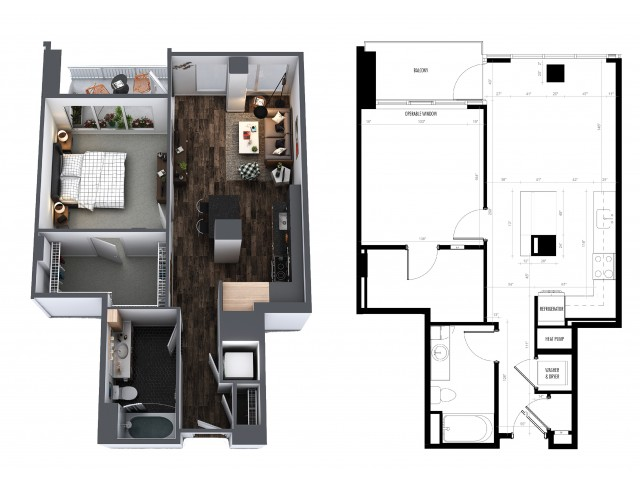 1 Bedroom 1 Bath 742 Sq Ft