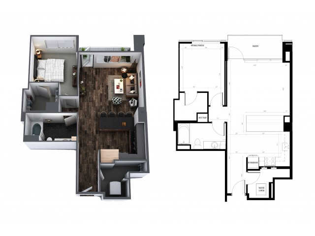 1 Bedroom 1 Bath 757 Sq Ft