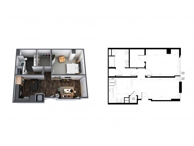 1 Bedroom 1 Bath 751 Sq Ft