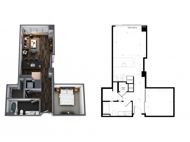 1 Bedroom 1 Bath Urban 666 Sq Ft