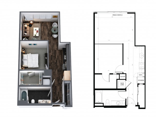1 Bedroom 1 Bath Urban 667 Sq Ft