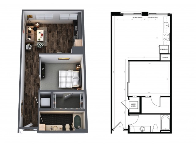 1 Bedroom 1 Bath Urban 682 Sq Ft