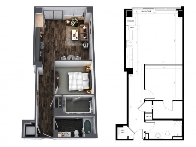 1 Bedroom 1 Bath Urban 734 Sq Ft