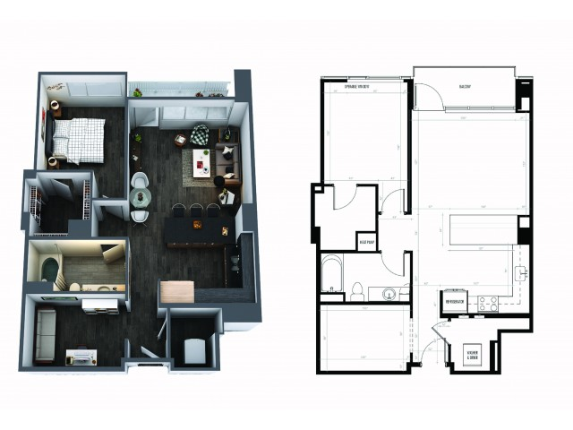 1 Bedroom 1 1/2 Bath Den Signature Collection
