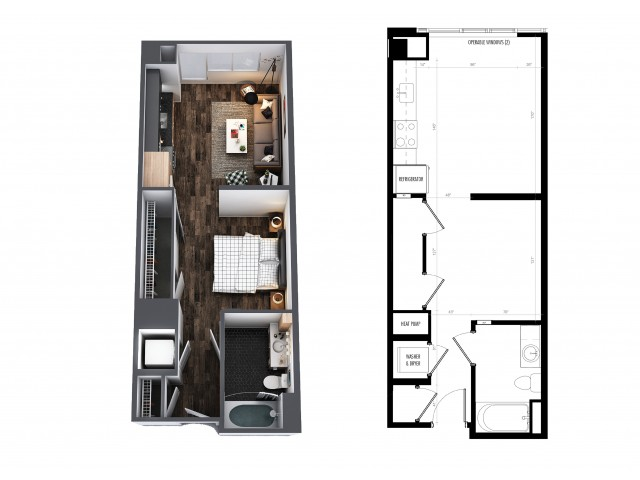 1 Bedroom 1 Bath Studio Furnished 522 Sq Ft