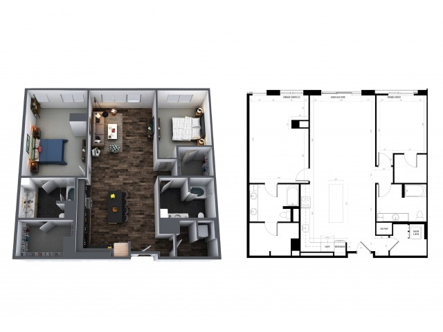 2 Bedroom 2 Bath 1492 Sq Ft