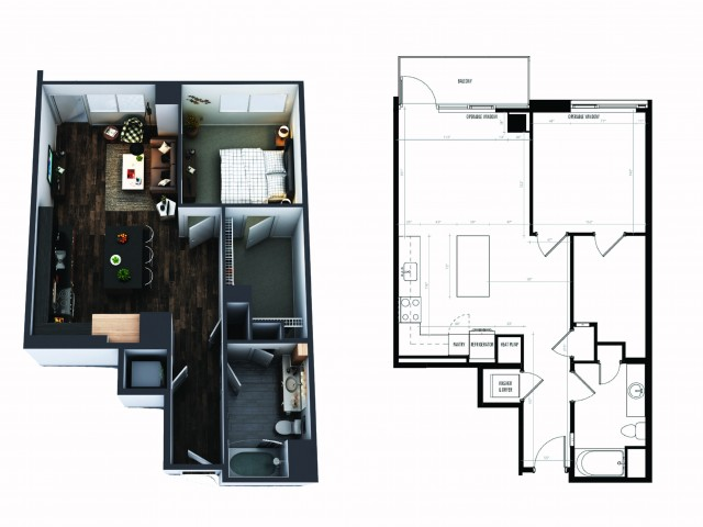 1 Bedroom 1 Bath Penthouse 789 Sq Ft