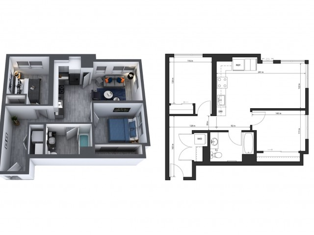 2 Bedroom, 1 Bathroom