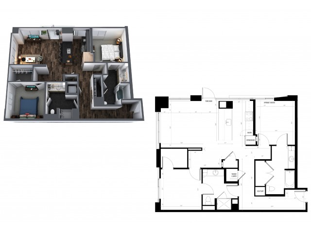 Sentral Union Station B2F Two Bedroom Floor Plan