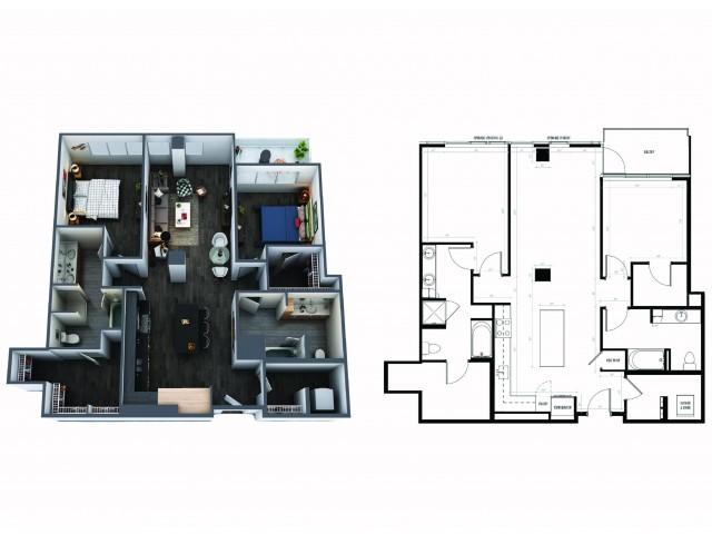 Sentral Union Station B5F Two Bedroom Floor Plan