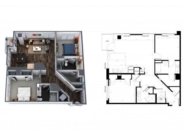 Sentral Union Station B10F Two Bedroom Floor Plan