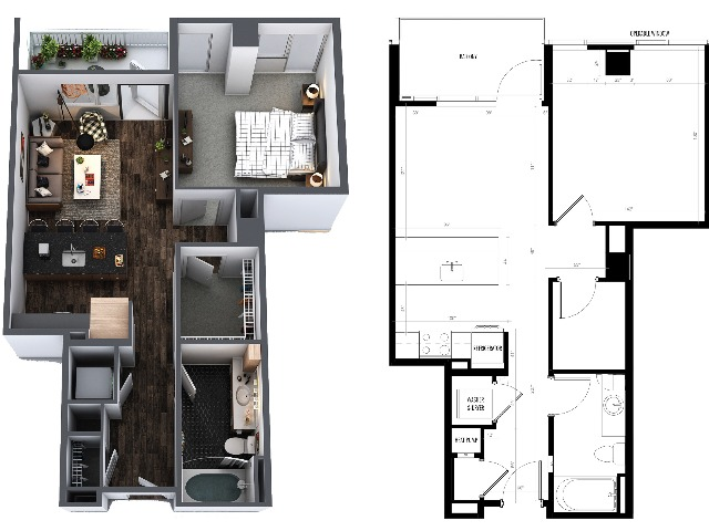 Sentral Union Station A7F One Bedroom Floor Plan