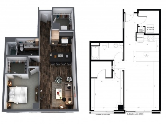 Sentral Union Station A8F One Bedroom Floor Plan