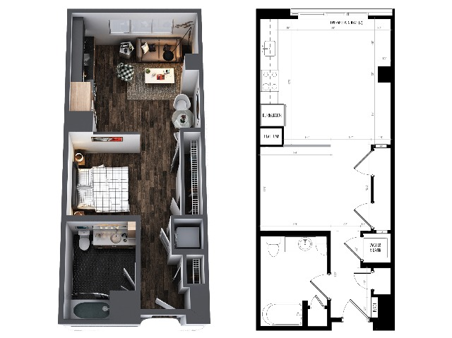 Sentral Union Station A3 One Bedroom Floor Plan