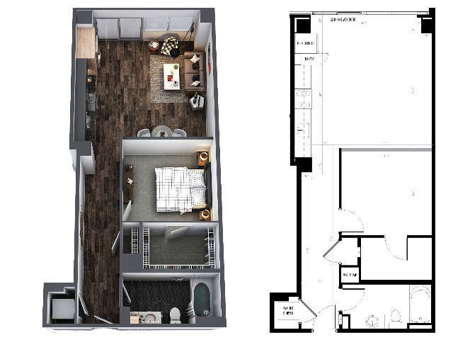 Sentral Union Station A10F One Bedroom Floor Plan