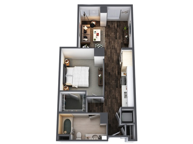 Sentral Union Station A1F One Bedroom Floor Plan