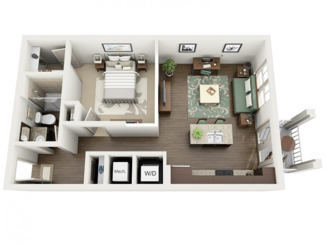 Mediterranean | 1 bed 1 bath | from 655 square feet