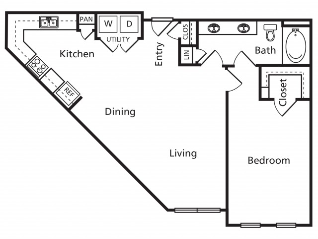 B1A | 1 bed 1 bath | from 869 square feet