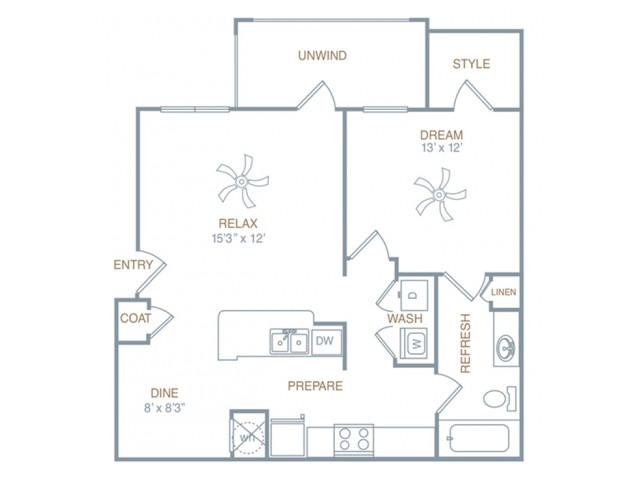 a4 | 1 bed 1 bath | from 822 square feet