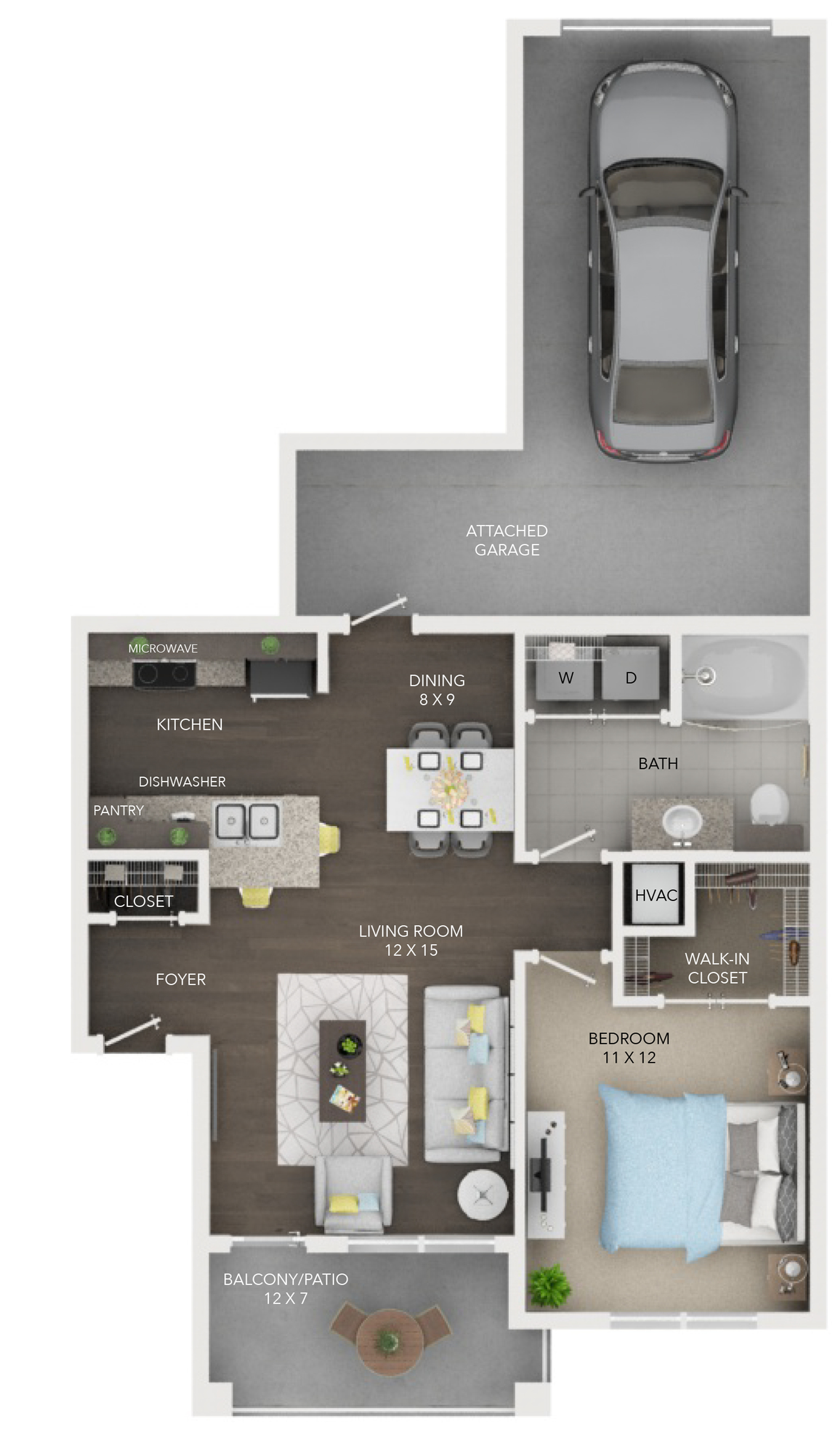 A2 | 1 bed 1 bath | from 691 square feet