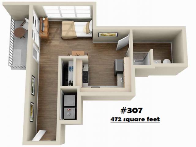 S-307   Studio1 bath   from 472 square feet