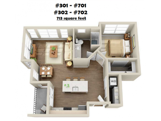 1x1-01   1 bed 1 bath   from 705 square feet
