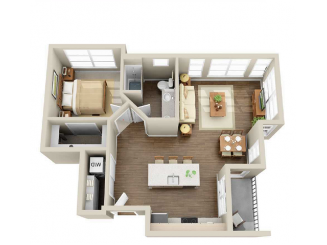 1x1-02   1 bed 1 bath   from 713 square feet