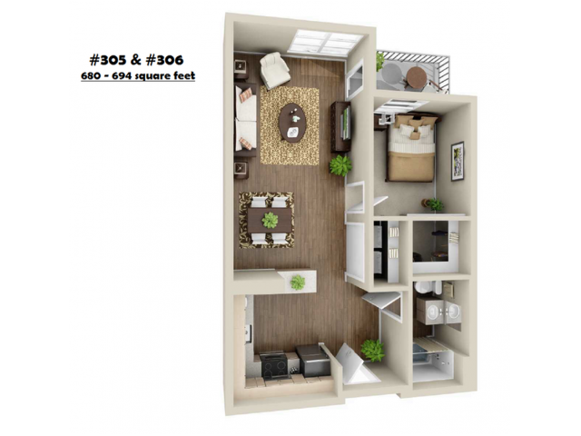 1x1-306   1 bed 1 bath   from 694 square feet