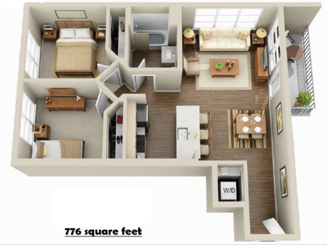 2x1   2 bed 1 bath   from 776 square feet