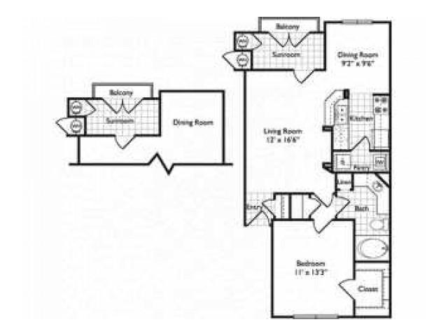 Oporto | 1 bed 1 bath from 733 square feet | Riviera at West Village | Apartments Dallas, TX
