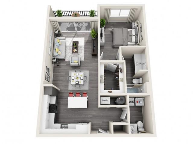1F | 1 bed 2 bath | The Tomscot | Scottsdale, AZ Apartments