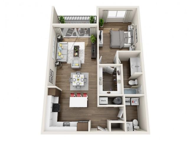 1G | 1 bed 2 bath | The Tomscot | Scottsdale, AZ Apartments