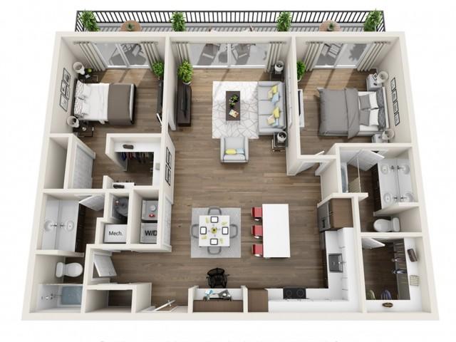 2A | 2 bed 2 bath | The Tomscot | Scottsdale, AZ Apartments