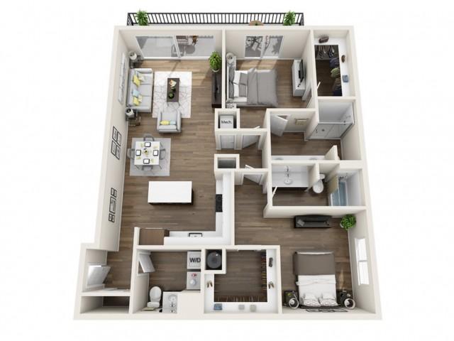 2B | 2 bed 3 bath | The Tomscot | Scottsdale, AZ Apartments