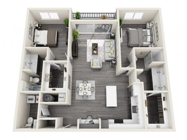 2C | 2 bed 3 bath | The Tomscot | Scottsdale, AZ Apartments