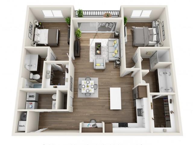 2D | 2 bed 3 bath | The Tomscot | Scottsdale, AZ Apartments