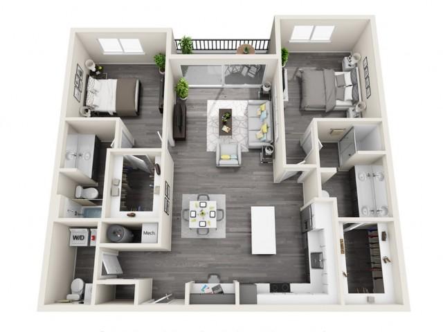 2E | 2 bed 3 bath | The Tomscot | Scottsdale, AZ Apartments