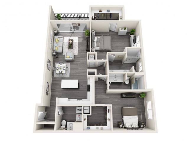 2G | 2 bed 3 bath | The Tomscot | Scottsdale, AZ Apartments