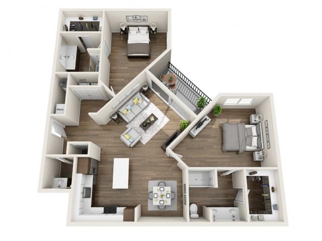 2H | 2 bed 3 bath | The Tomscot | Scottsdale, AZ Apartments