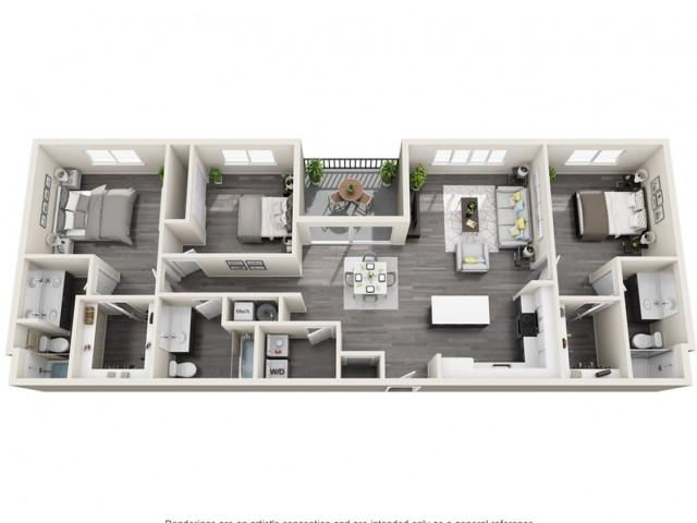 3A | 3 bed 3 bath | The Tomscot | Scottsdale, AZ Apartments