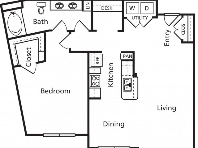 B6a Floorplan 1 bed 1 bath